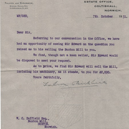 Sale letter for Buxton Mill 1931