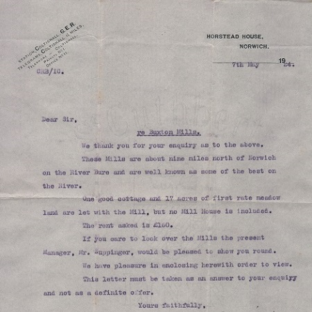 Mill viewing letter